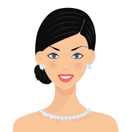 aretes: Hermosa mujer con diamantes