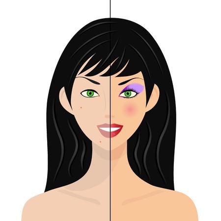 portrait de femme, moitié naturel, moitié avec le maquillage et retouches