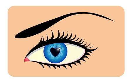 Female eye with heart shaped iris Vector