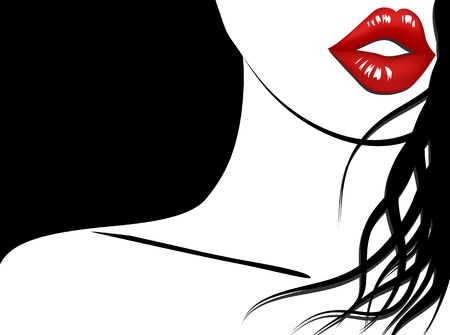 red head girl: Stylish background of woman with red lips and long hair Illustration