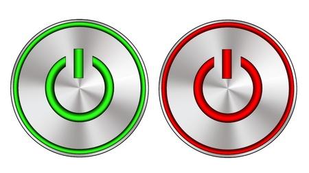 Metallic aan en uit knop met LED-verlichting Vector Illustratie