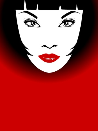 bob: Stylish background of woman with red lips and bob hairstyle Illustration