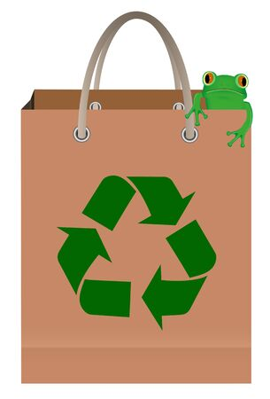 Green tree frog sitting on paper bag with recycle symbol Vector