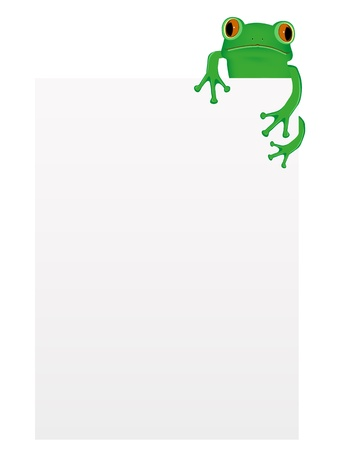 Green tree frog sitting on blank paper
