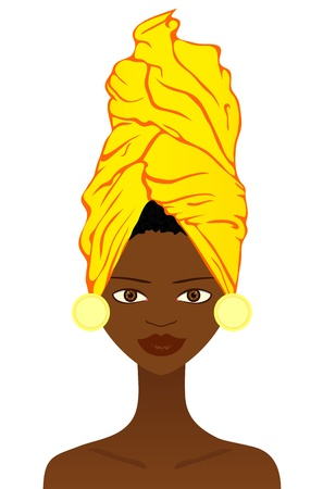 headgear: Beautiful  African woman with traditional headgear Illustration