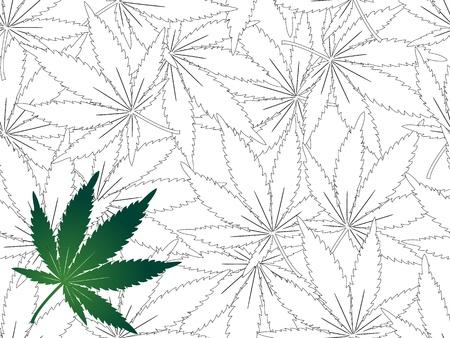 ganja: Feuille de cannabis - sans soudure de fond Illustration