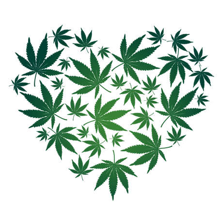 Cannabis leaf heart Vector