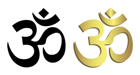 ohm: Om symbol in black and gold Illustration