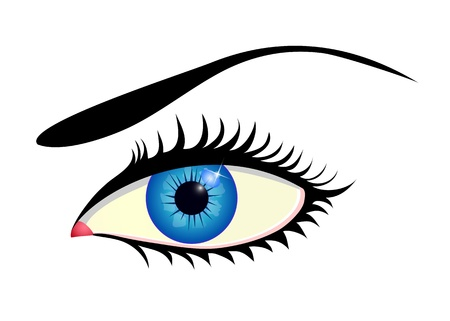 Close up of beautiful blue eye isolated on white