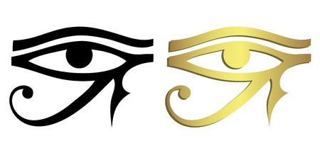 ancient egyptian culture: Eye of Horus in black and gold Illustration