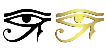 occhio di horus: Eye of Horus in nero e oro Vettoriali