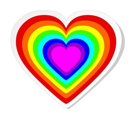gay: Regenbogen-Herz-Aufkleber Illustration