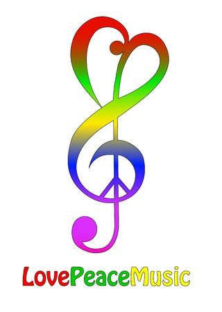 El amor la paz y la música, aislado en blanco Ilustración de vector