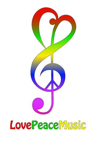 Paix amour et la musique, isolé sur blanc
