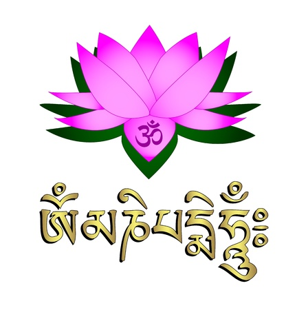 Lotus flower, om symbol and mantra om mani padme hum Vector