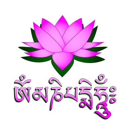 tibet: Lotus flower, om symbol and mantra om mani padme hum