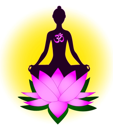 sanskrit: Meditating woman with om symbol and lotus