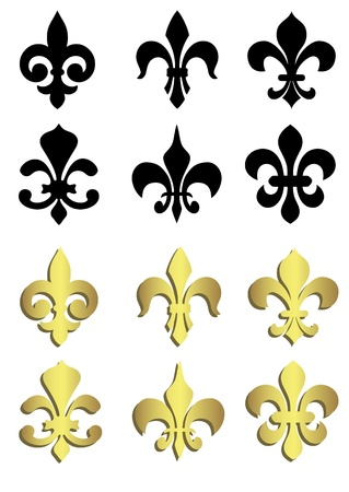 lys: Fleur de lis in black and gold Illustration