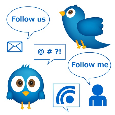 Cartoon of blue bird with social media graphics
