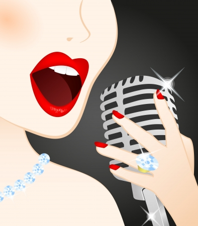 Close up of beautiful woman singing in microphone Ilustração