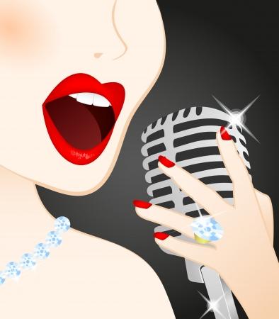 canta: Primo piano di cantare bella donna al microfono