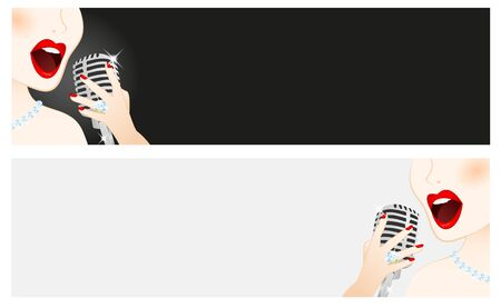 Banners of beautiful woman singing in microphone Vector