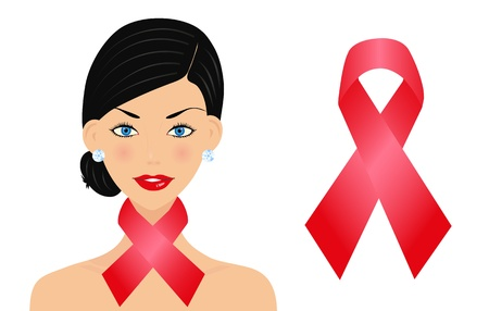 Beautiful woman with aids ribbon Stock Vector - 14388379