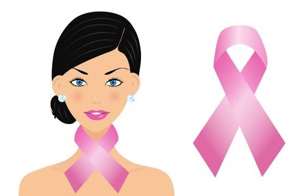 cancer symbol: Mujer hermosa con la cinta del c�ncer