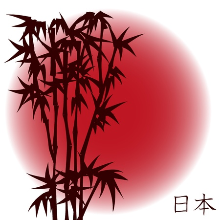 Bamboo on red sun  - japanese theme  Vector