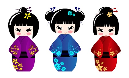 asian: Cute kokeshi dolls