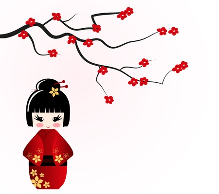 japanese kimono: Kokeshi doll under sakura branch Illustration