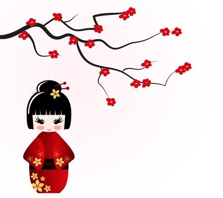 Kokeshi poupée sous sakura branche