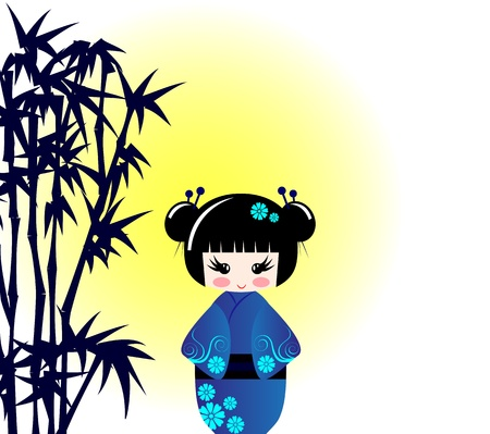 manga style: Kokeshi doll and bamboo