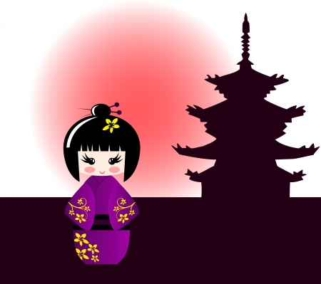 manga style: Kokeshi doll and japanese temple