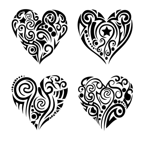 stencil: Tribal hearts Illustration