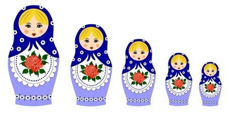 nested: Traditional matryoschka dolls