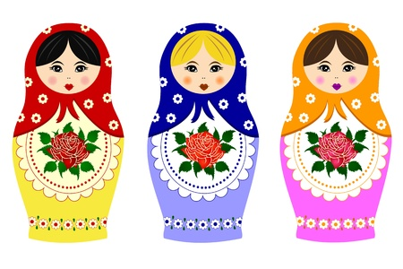 nested: Traditional russian matryoshka Illustration