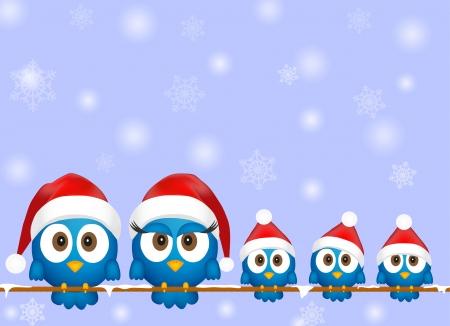 Mignon oiseaux de Noël Illustration
