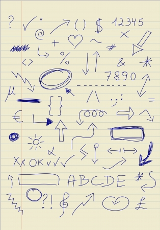 Set of doodle signs Vector