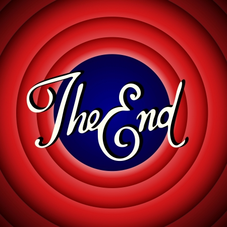 retro tv: Vintage movie ending screen Illustration