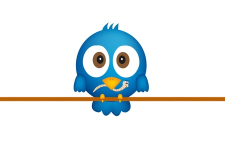 Blue bird with worm Vector