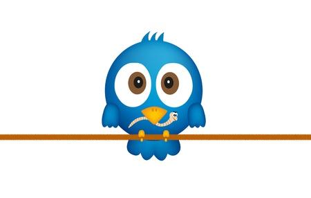 ver de terre cartoon: Oiseau bleu avec vis sans fin