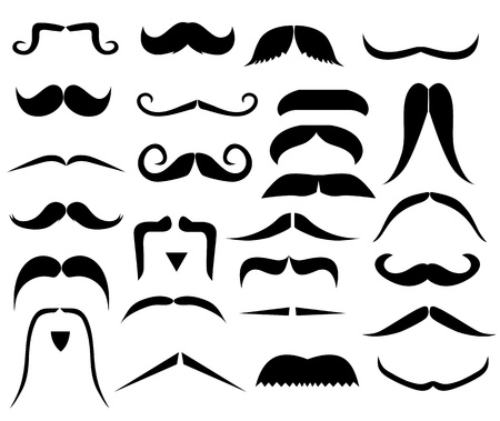 black head and moustache: Set of moustaches