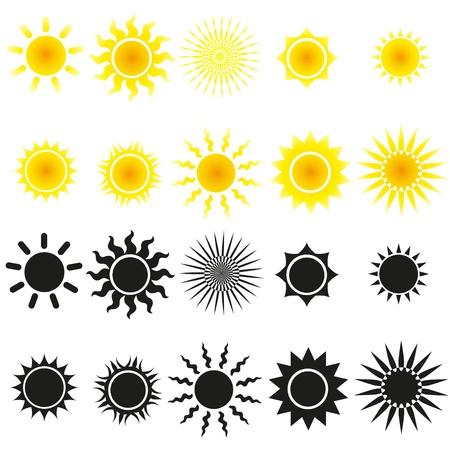 sol caricatura: Conjunto de vectores de sol en amarillo y negro Vectores