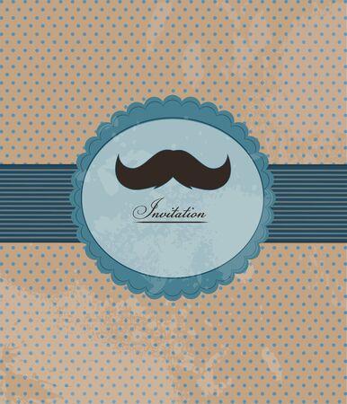 black head and moustache: Moustache background invitation