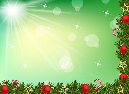 Christmas background with balls and decoration Vector