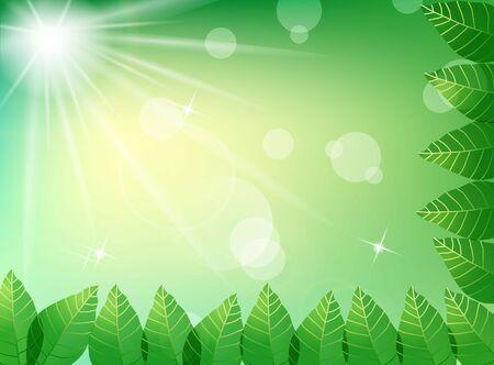 haya: Hojas verdes en fondo luz del sol Vectores