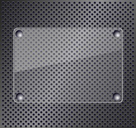 on metal: Placa de vidrio en el fondo met�lico Vectores