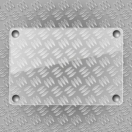 Glass plate on metallic plate Stock Vector - 15820871