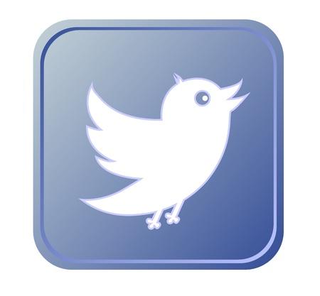 Blue button with bird icon Stock Vector - 16797591